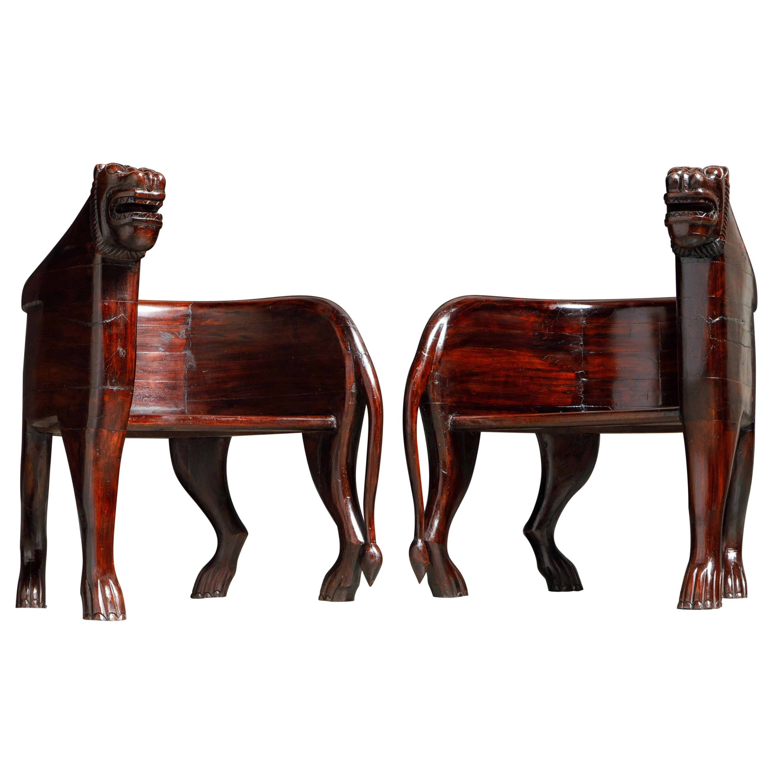 Pair of Figural Full Body Carved Teak Lioness Hunting Lodge Chairs
