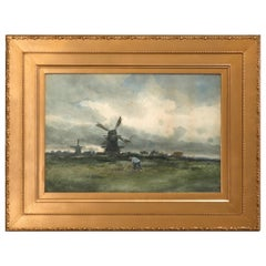Antique Charles Gruppe Dutch Seashore Watercolor Painting, Signed, circa 1910