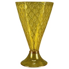 Vintage Steuben Faceted Yellow Handcrafted Art Glass Vase, 20th Century