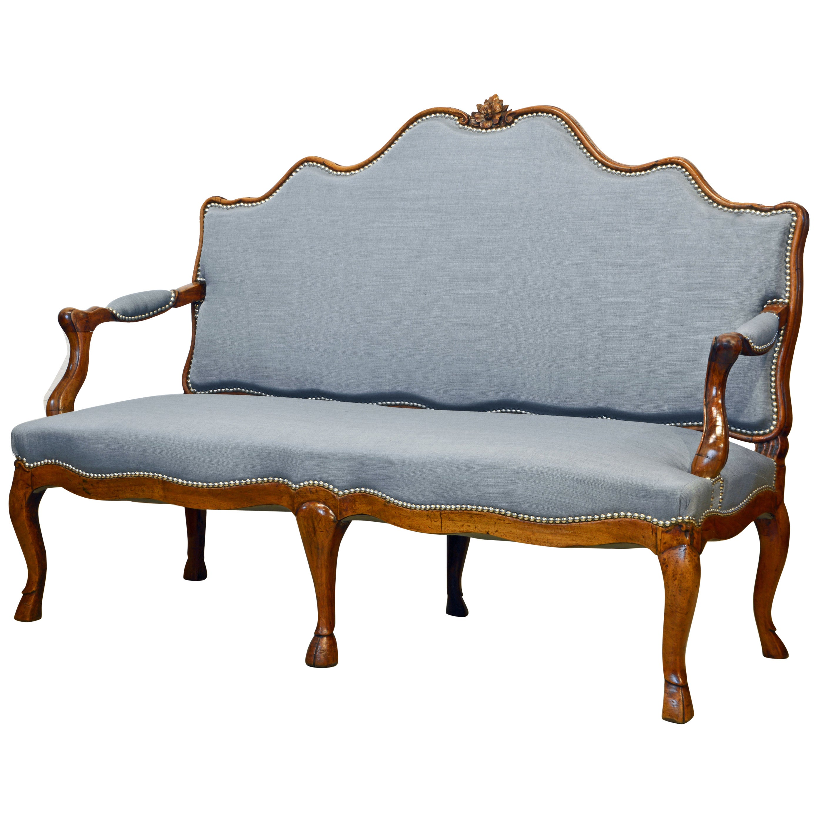 French Louis XV Carved Walnut Canape or Settee, Lovely Form and Detail