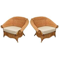 Large Pair of Rattan Chairs with Upholstered Linen Cushions