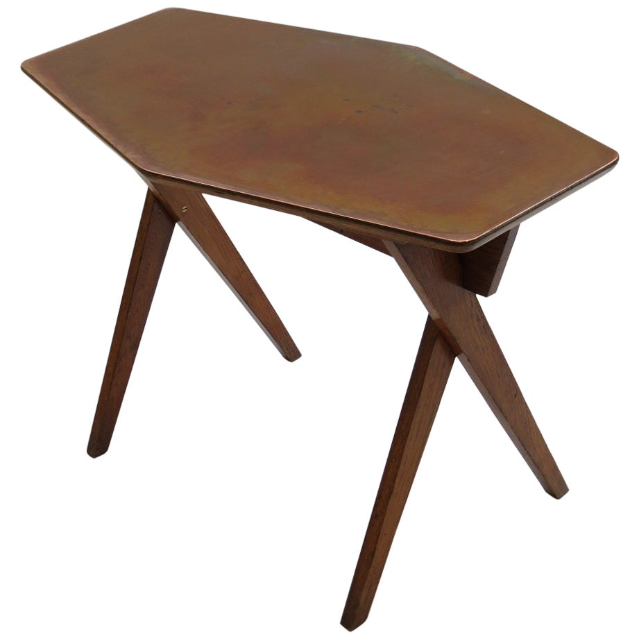 Vintage Copper and Oak Side Table, 1950s