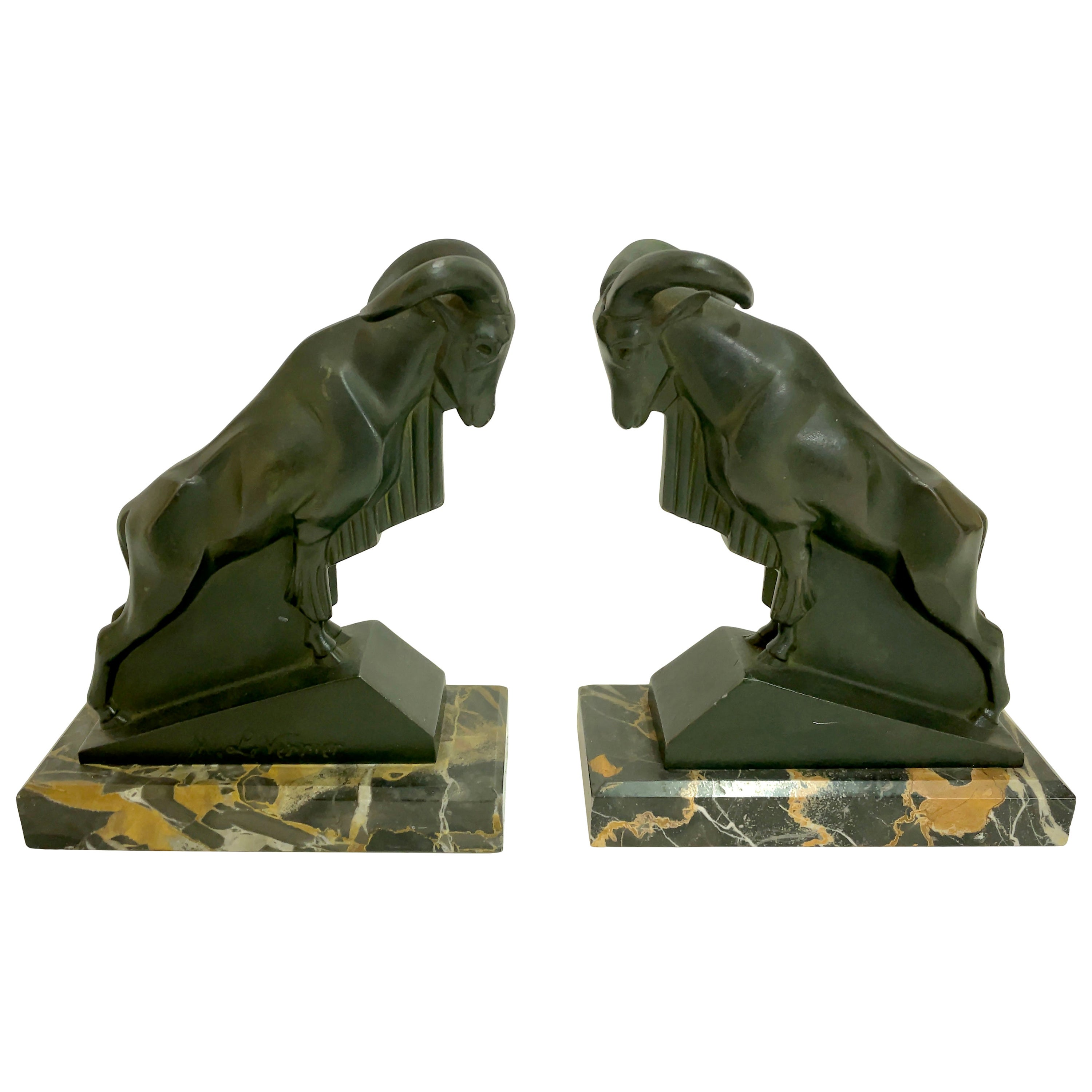 Mouflon Original Art Deco Bookends of Two Aries by Max Le Verrier with Patina