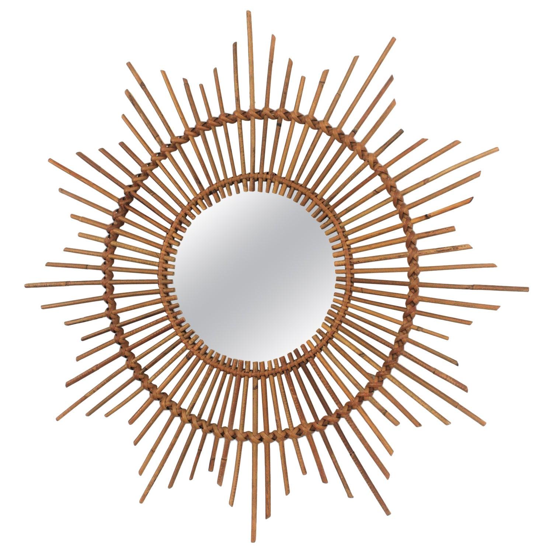 Rattan Sunburst Starburst Mirror from Spain, 1960s