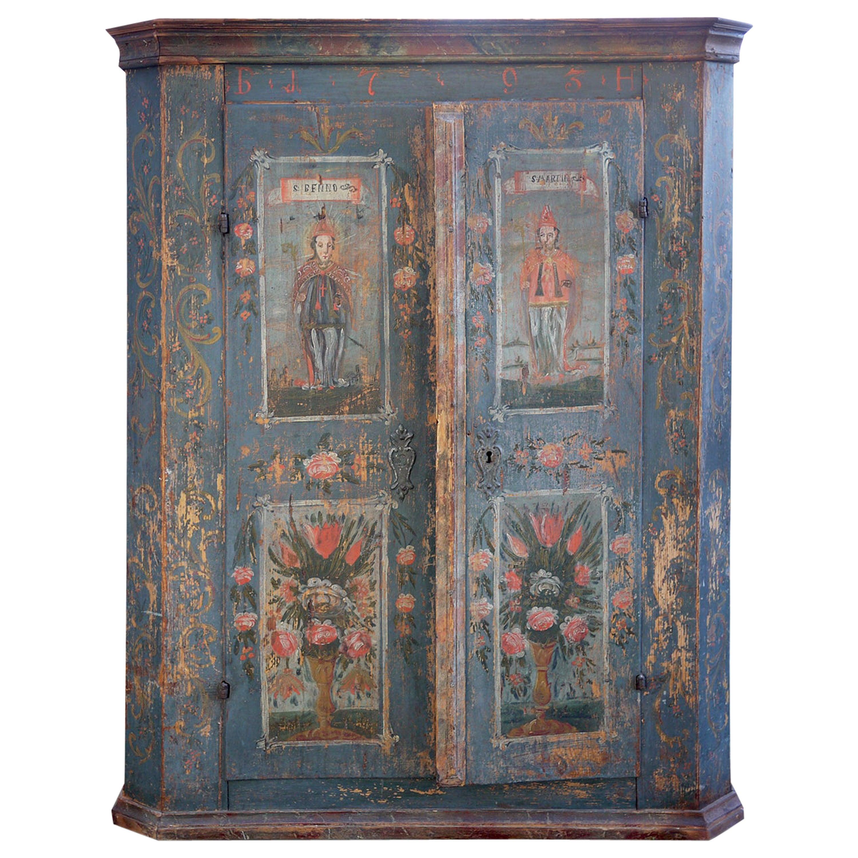 18th Century Tyrolean Blue Painted Wardrobe, 1793
