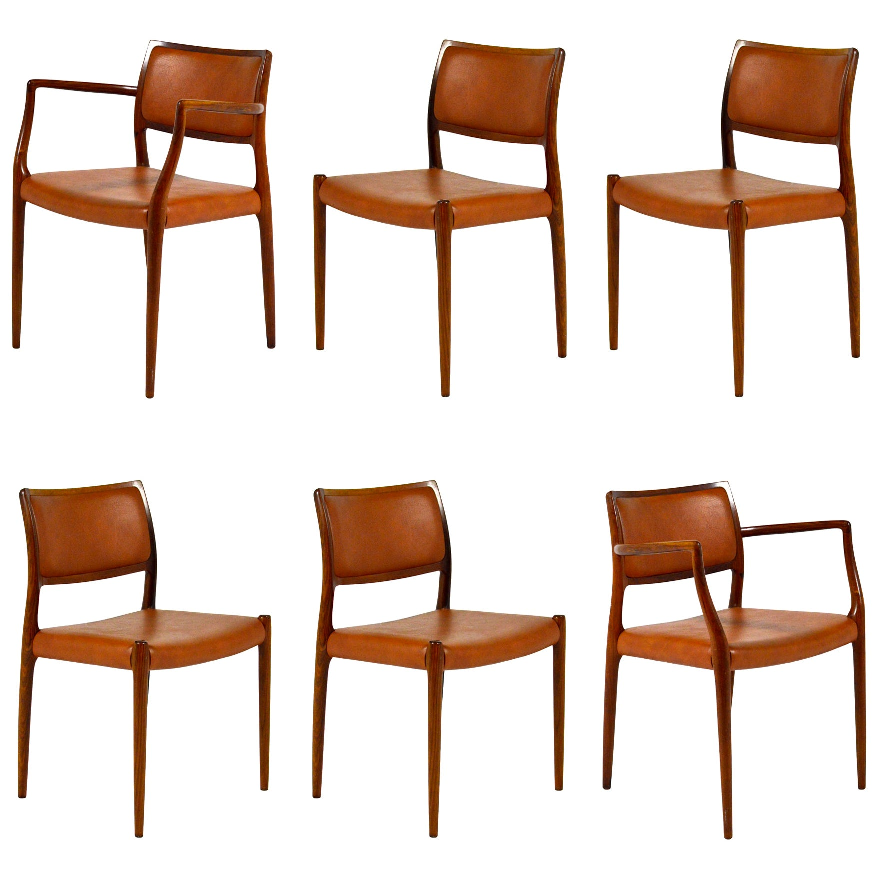 N.O. Møller Model 80 & 65 Rosewood Chairs Set of Six