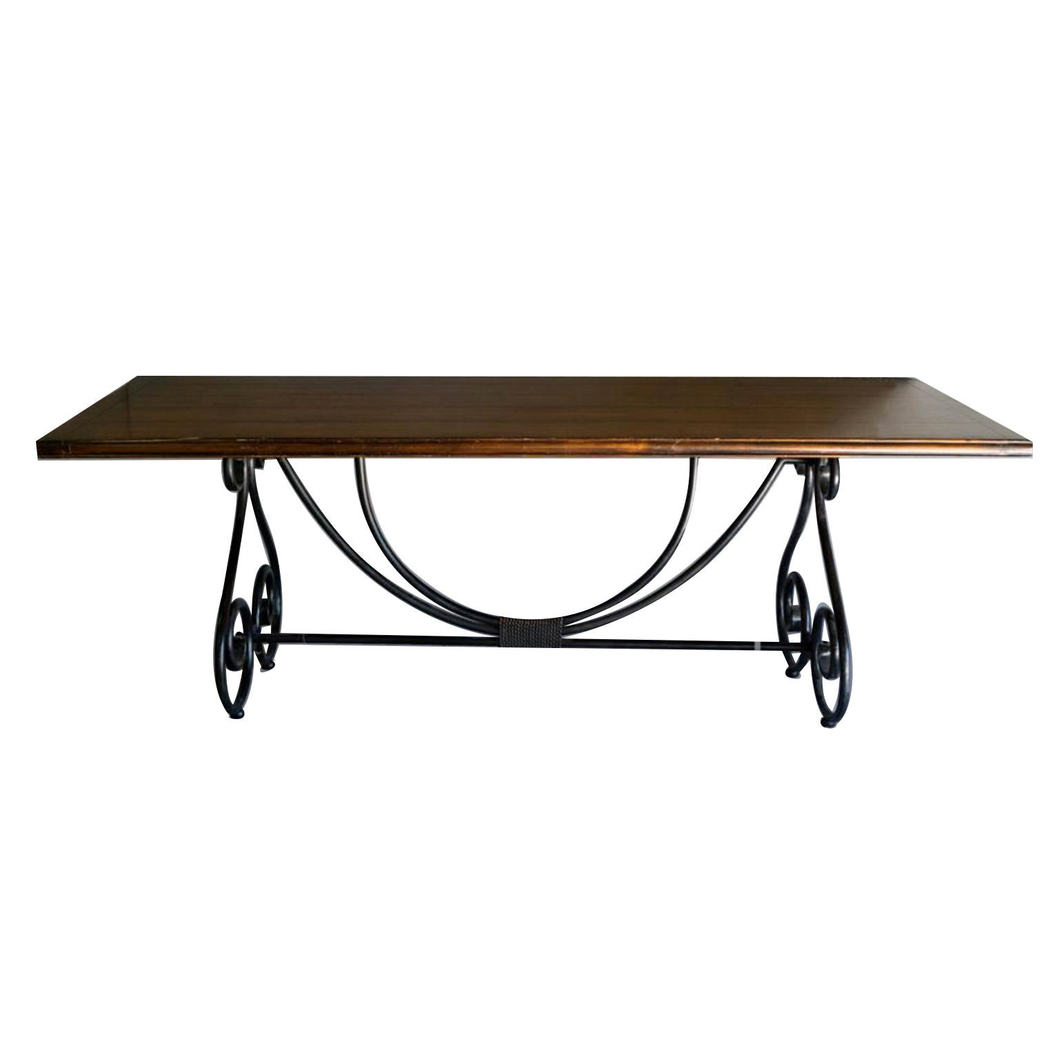 Ebony Metal and Brass Scroll Base Dining Table Wood Top Baroque Style