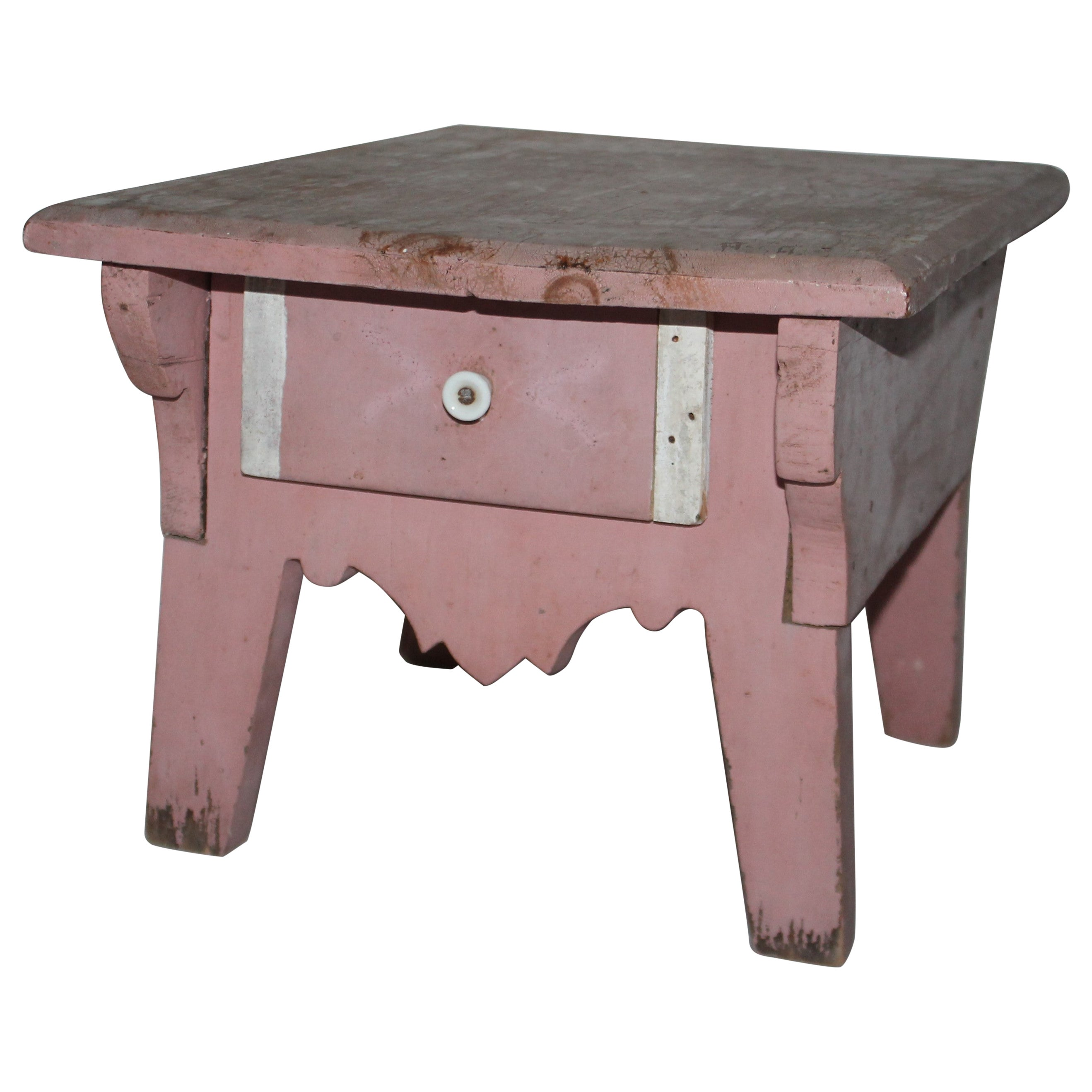 19th Century Original Rose Painted Stool with Drawer