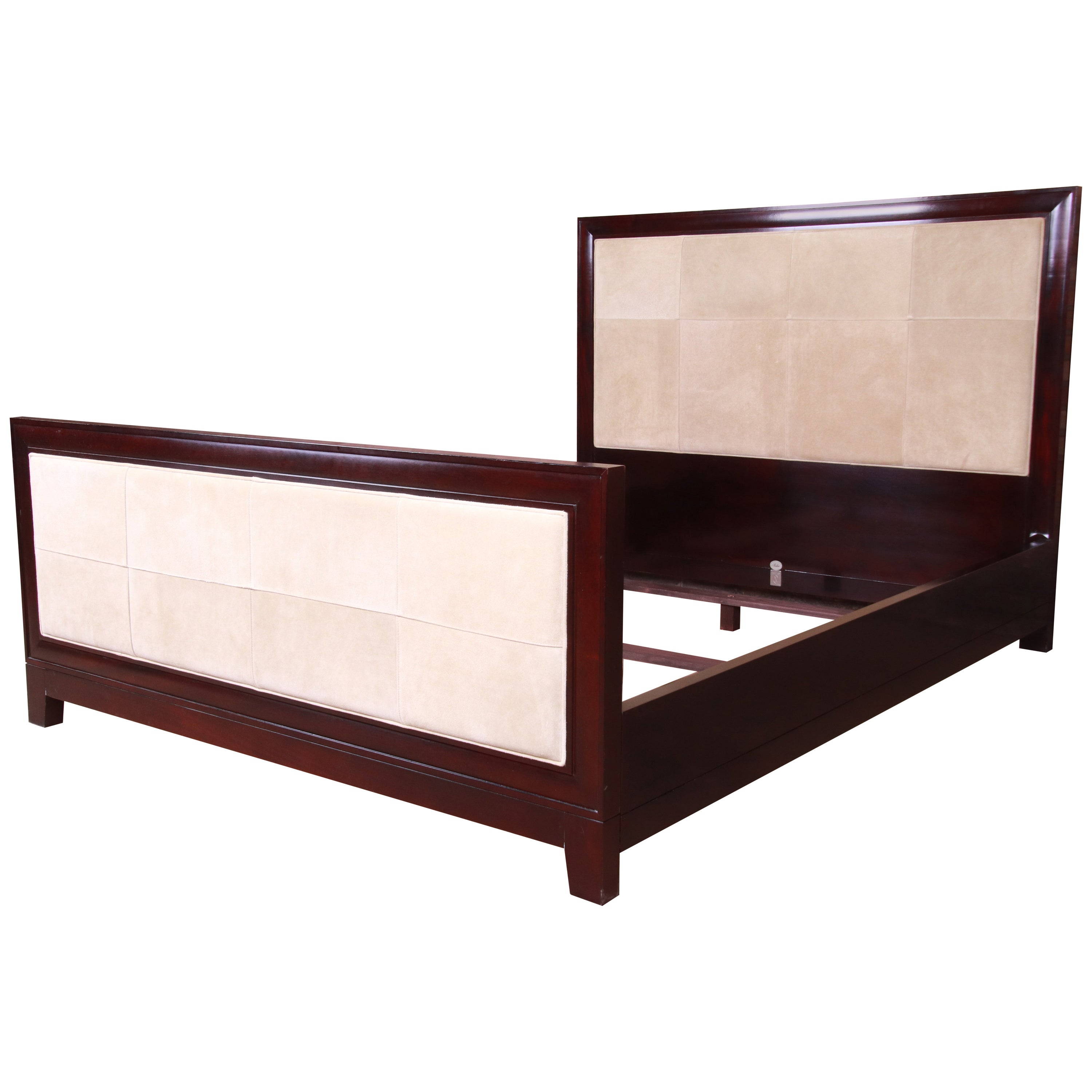 Barbara Barry for Baker Modern Mahogany and Suede Queen Bed