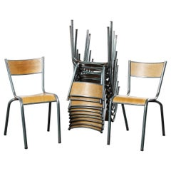1950s French Mullca Vintage Stacking School, Dining Chairs, Set of Twelve