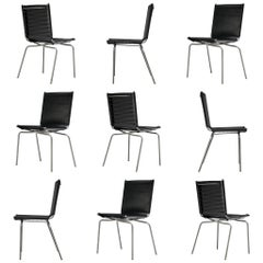 Fabiaan Van Severen Dining Chairs in Patinated Black Leather