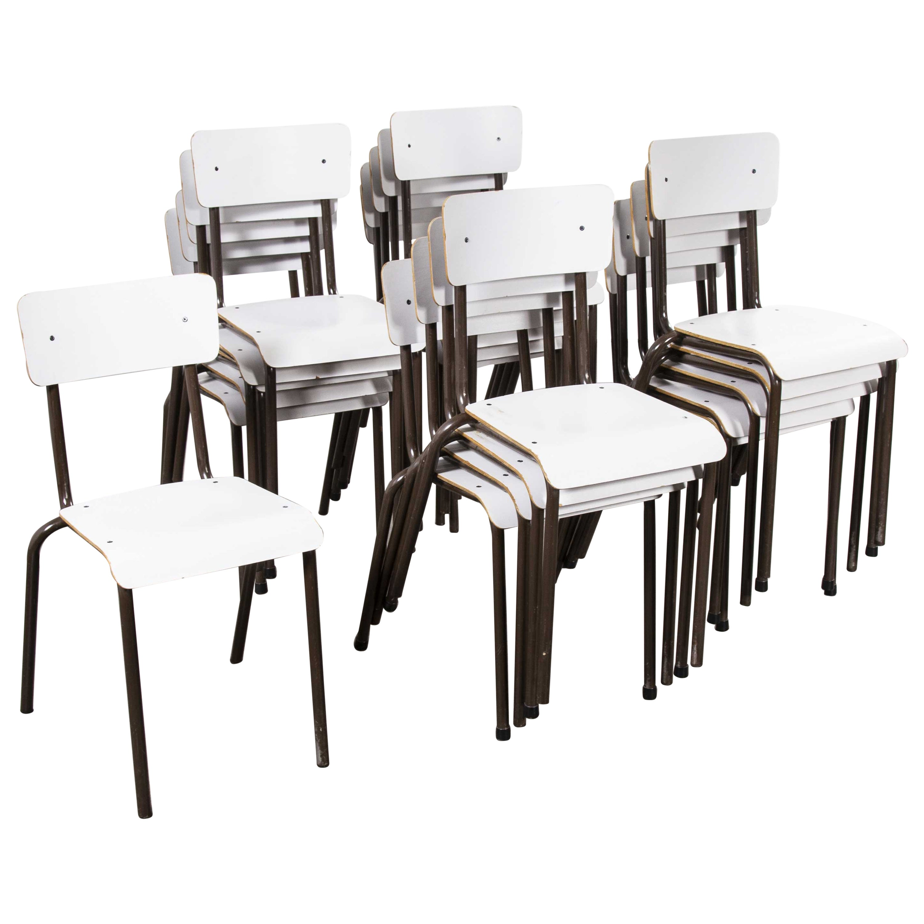 1970s Mullca White Stacking Dining Chairs, Set of Eight