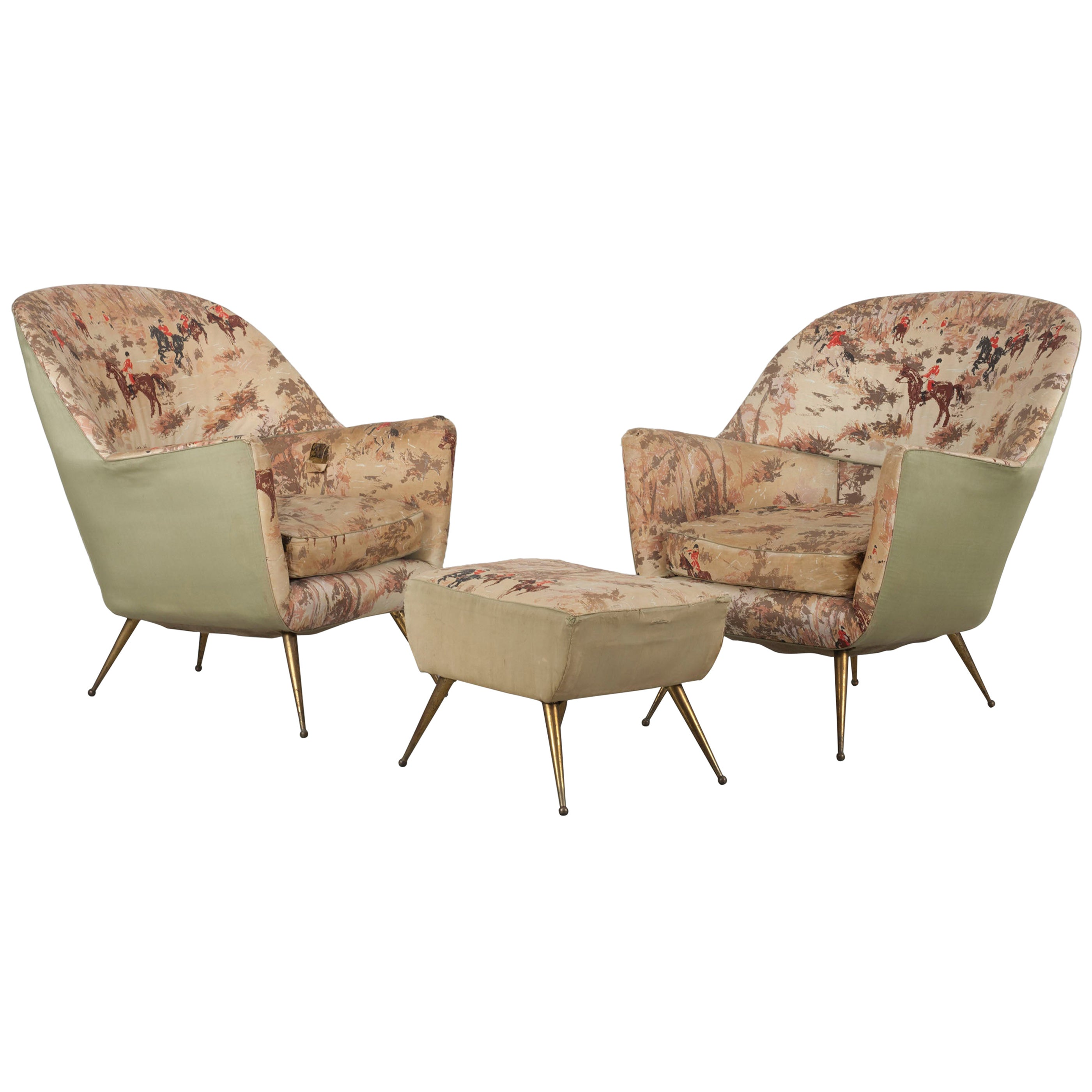 Italian Pair of Armchairs with Brass Legs and a Footrest, ISA Bergamo, 1950s