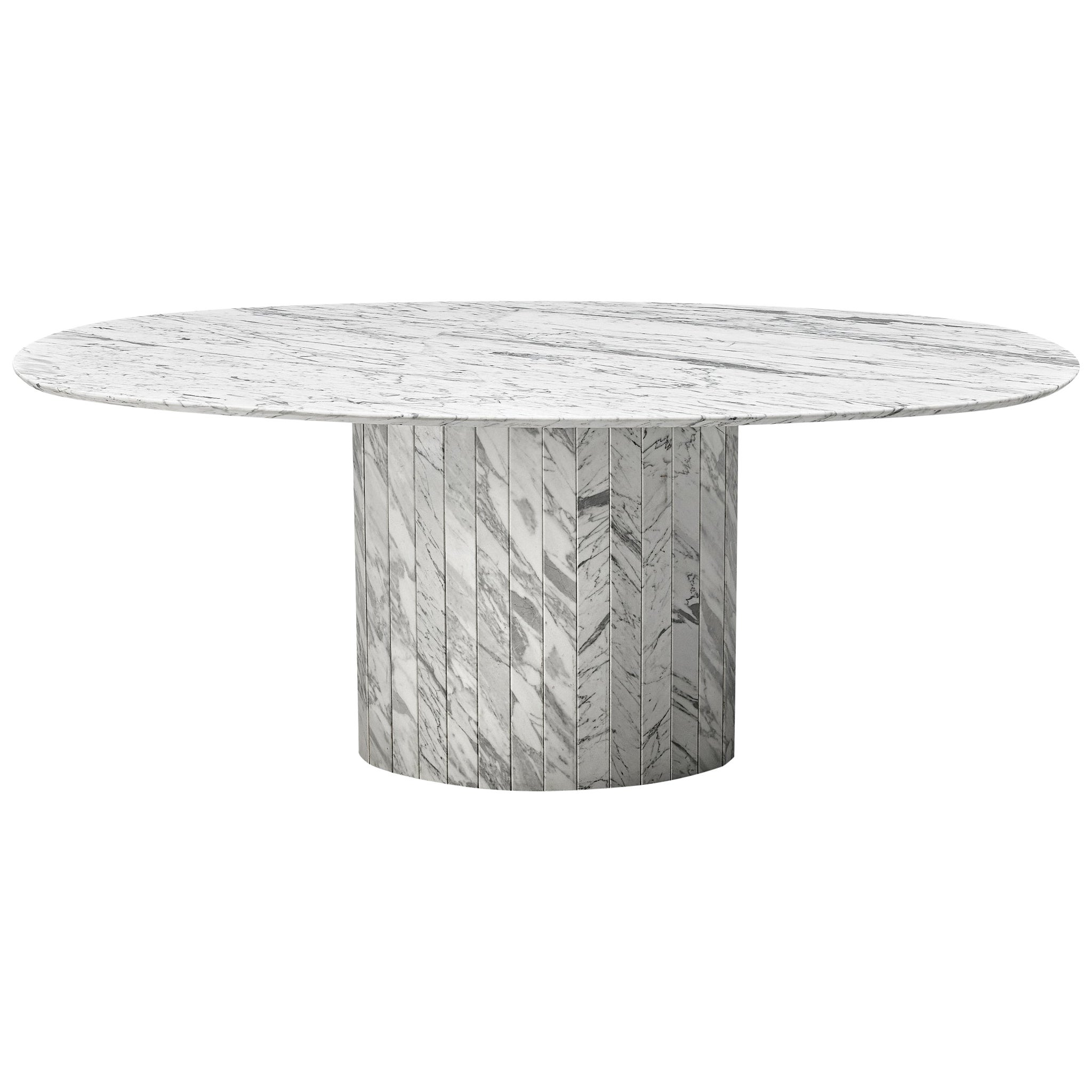Sculptural Pedestal Table with Oval Top in Marble