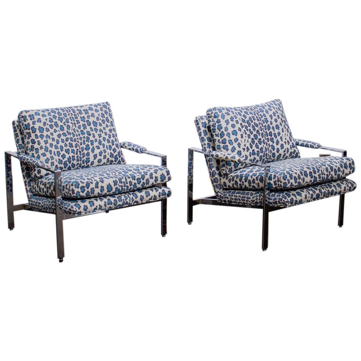 Pair of 1970s Nickel Framed Lounge Chairs