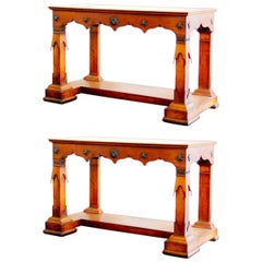 Rare Pair of Baltic Transitional Fruitwood Console Tables, circa 1820