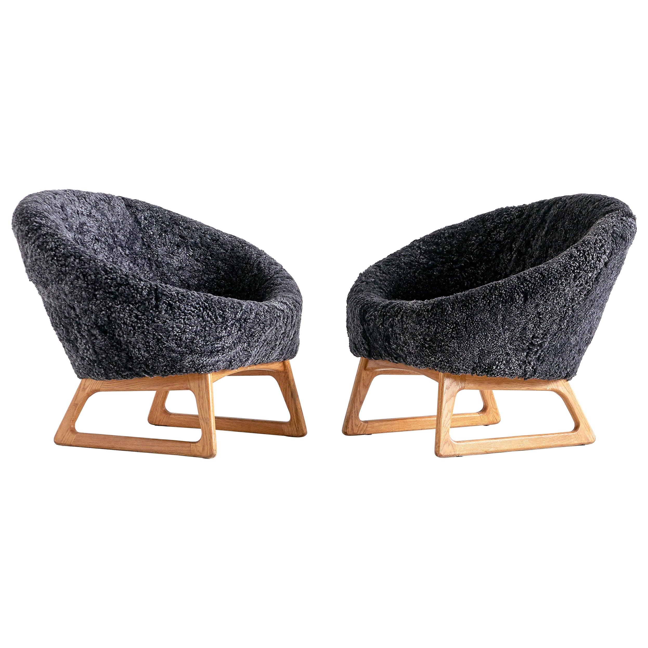 Pair of Kurt Østervig Sheepskin Lounge Chairs, Rolschau Møbler, Denmark, 1958