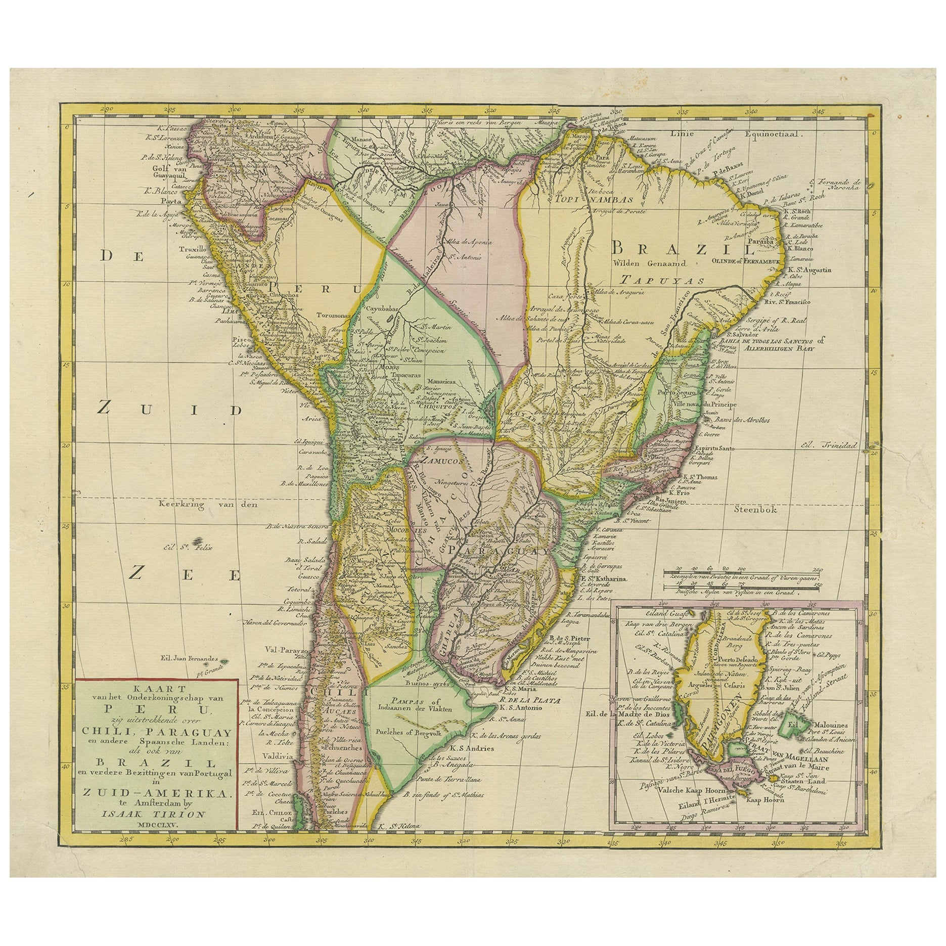 Antique Map of South America by Tirion 'circa 1765'