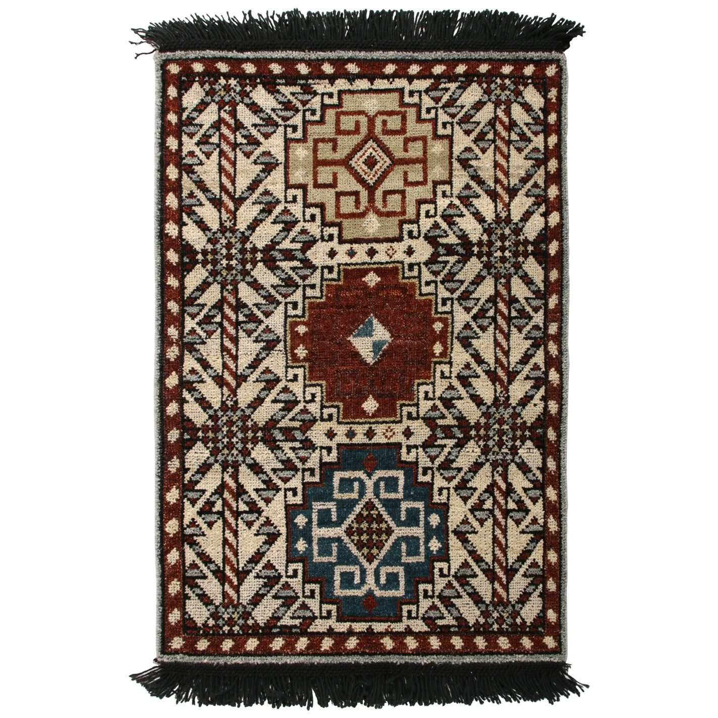 Hand Knotted Qashqai Style Rug in Beige Red Geometric Pattern by Rug & Kilim