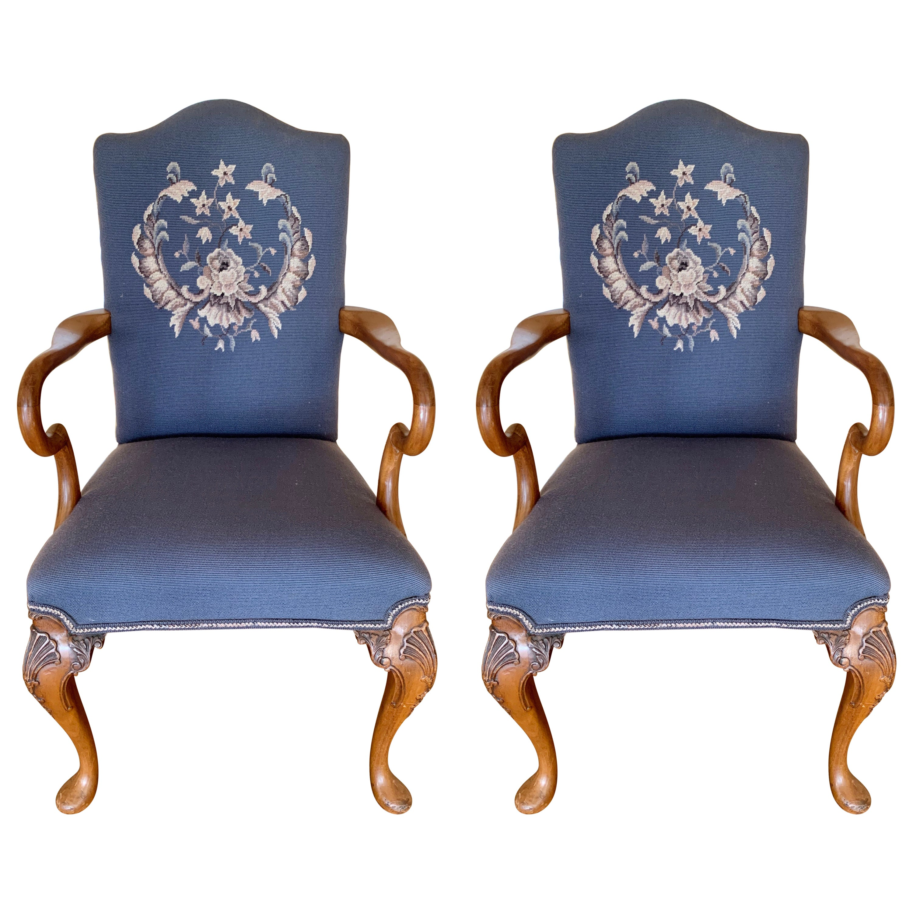 Carved Walnut Embroidered Needlepoint Dining Chairs, Pair