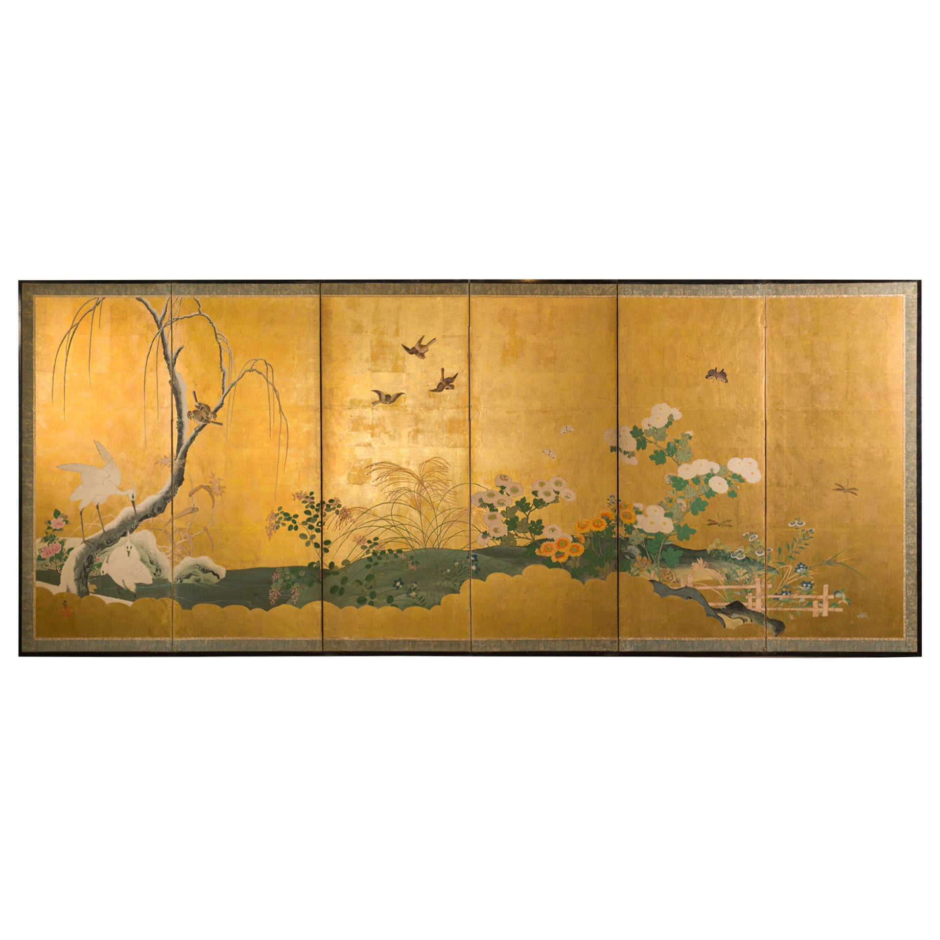 Japanese Six Panel Screen Autumn into Winter Landscape