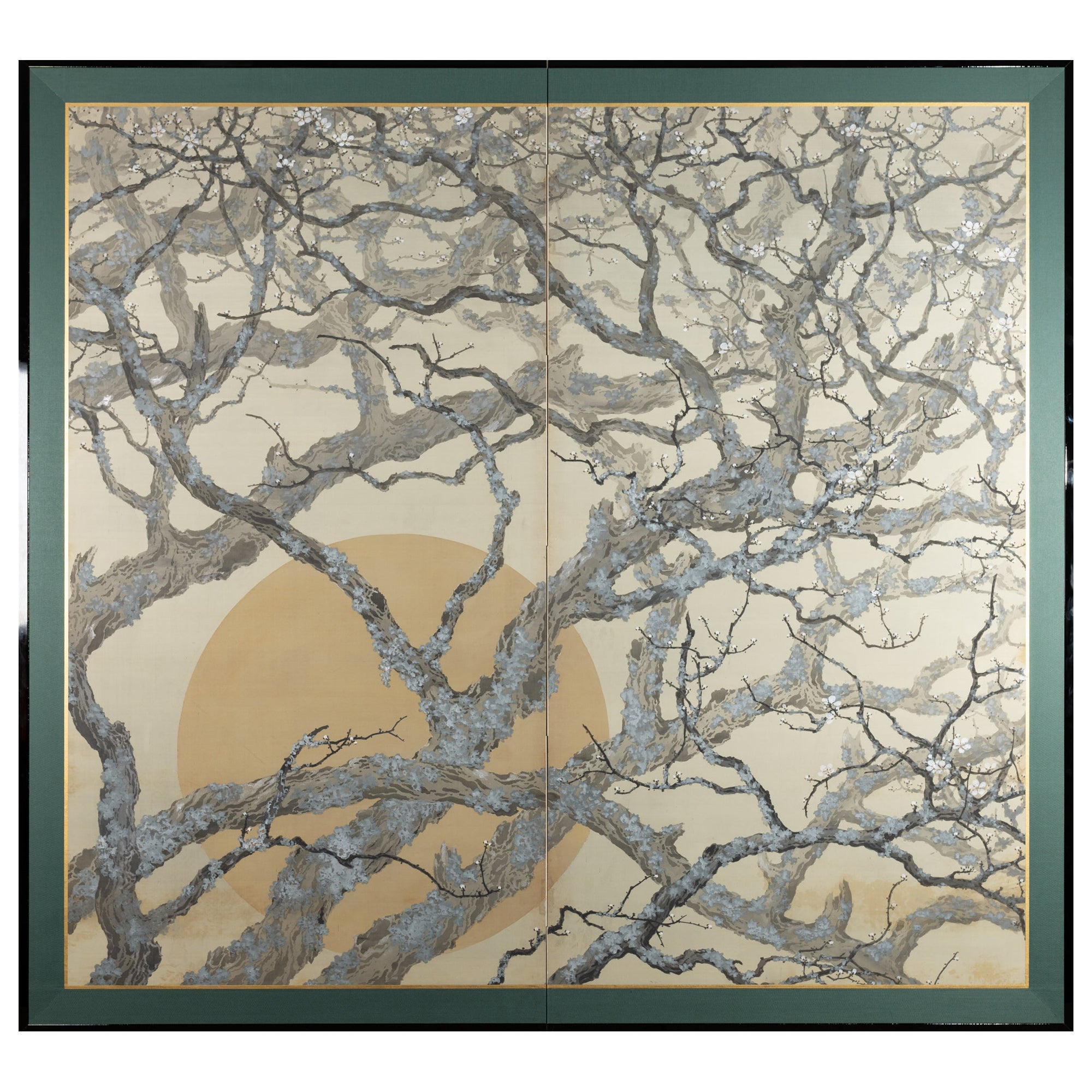 Japanese Two-Panel Screen Full Moon Through Plum Orchard