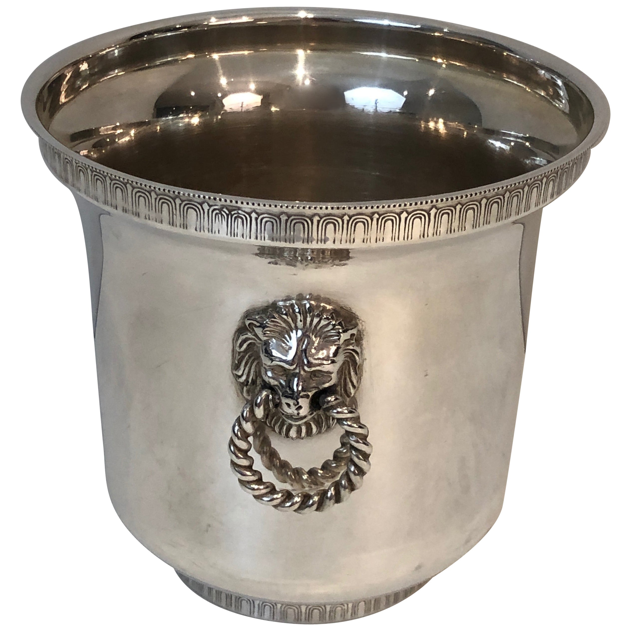 Silver Plated Champagne Bucket with Lion Heads Handles, French, circa 1930