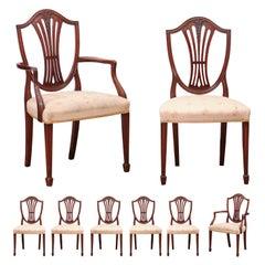Set of 8 Sheraton Style Mahogany Shield Back Dining Chairs, Early 20th Century