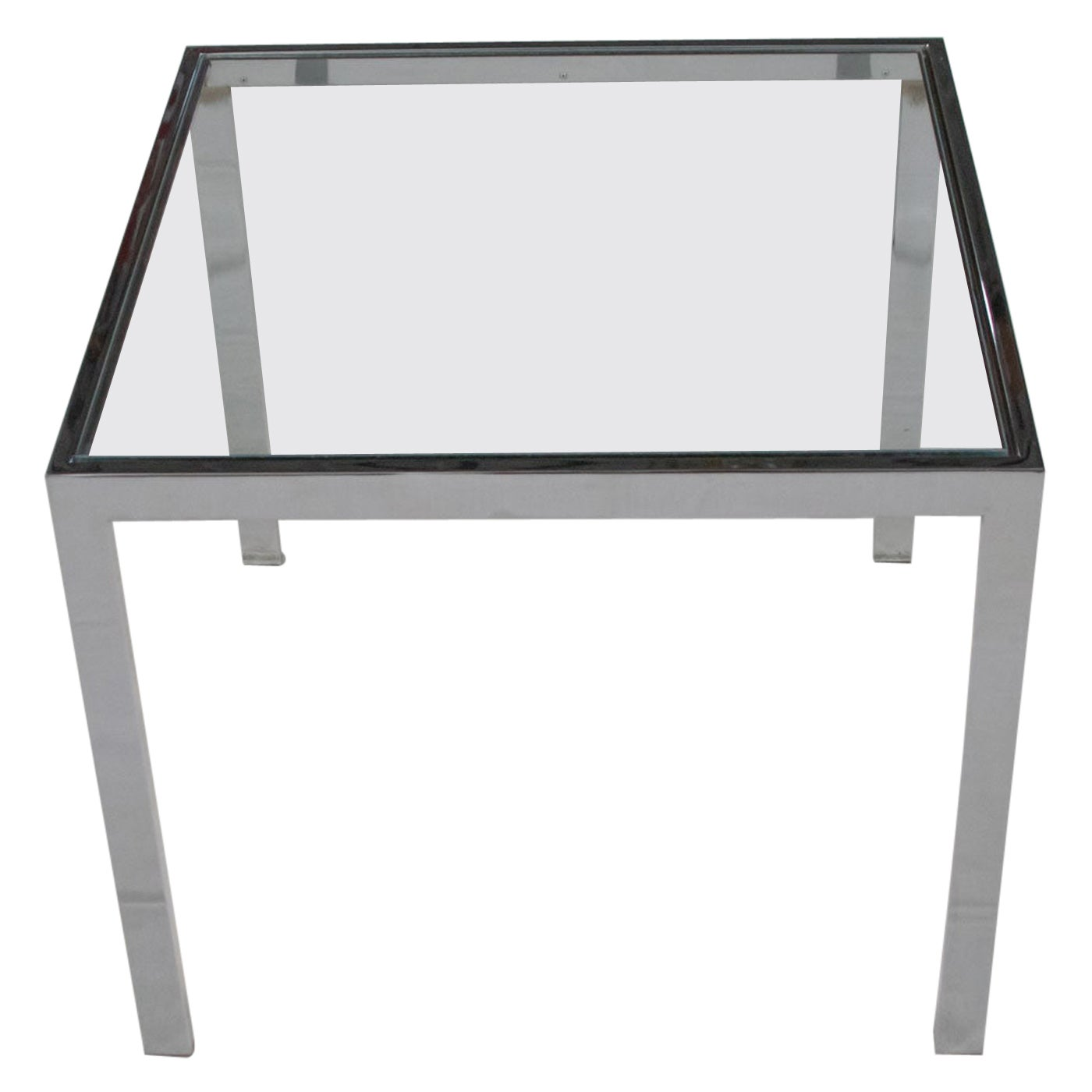 Mid-Century Modern Chrome and Glass Parsons End or Side Table after Baughman