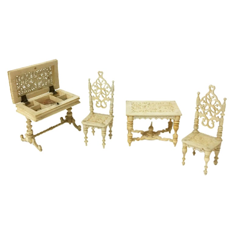19th Century German Doll House Miniature Furniture