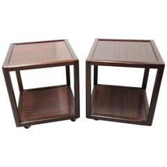 Pair of Midcentury Mahogany Side Tables, 1970s