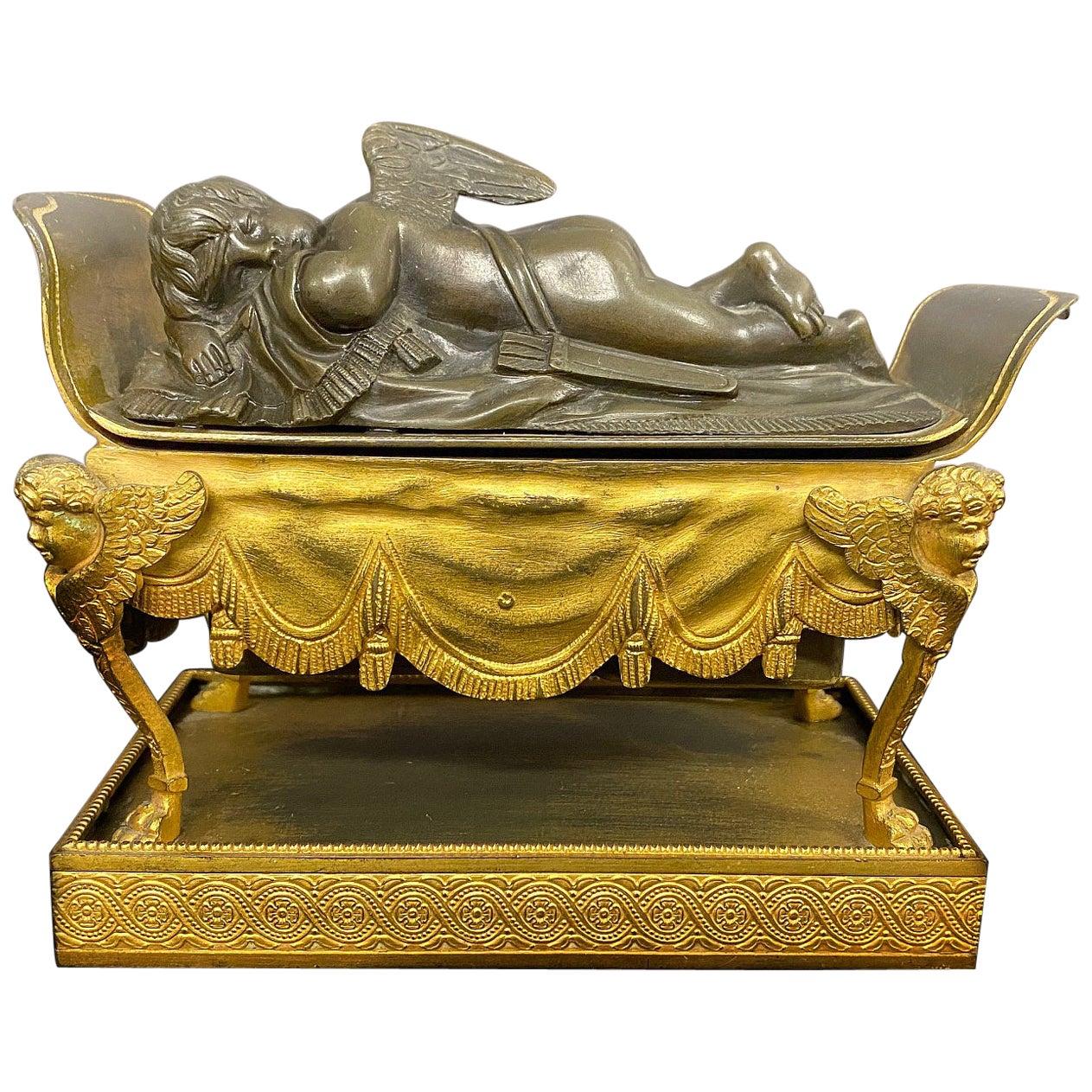 Beautiful Late 19th Century Gilt and Patina Bronze Inkwell