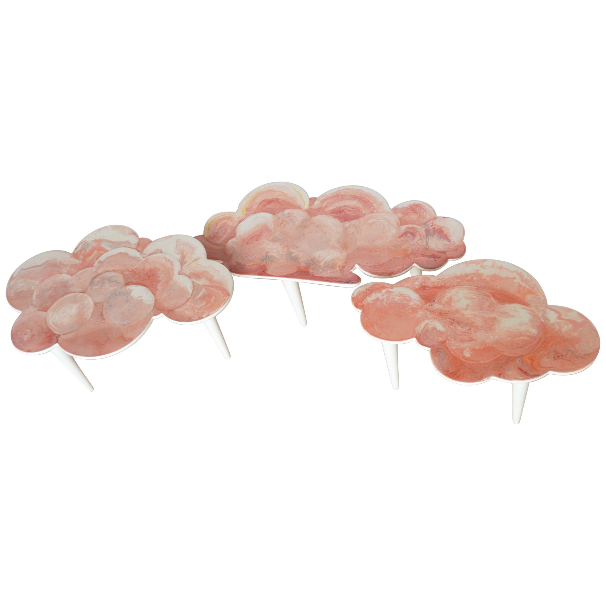 Coffee Tables Pink Scagliola Artistic Top Cloud Shape White Wooden Legs Handmade