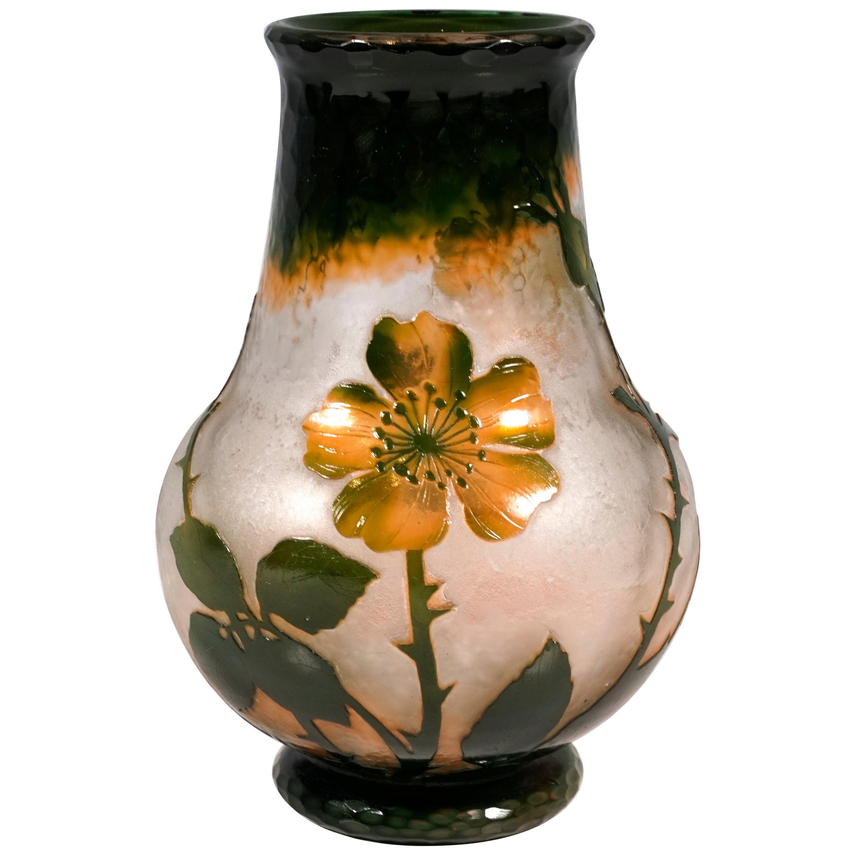 Art Nouveau Cameo Vase with Wild Roses Decor, Daum Nancy, France, 1900-1904
