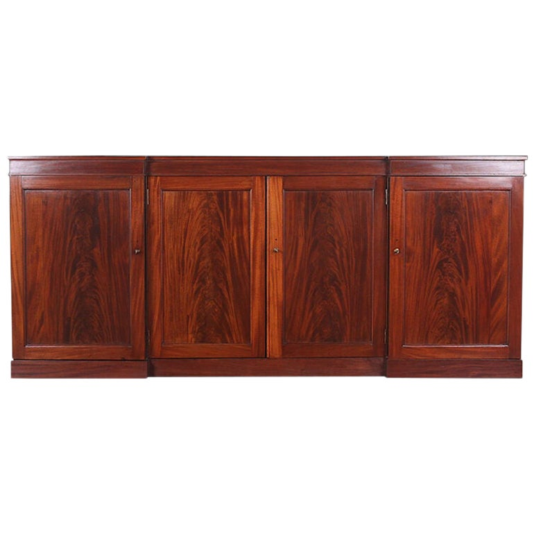 19th Century English Flame Mahogany Reverse Breakfront Side Cabinet Buffet