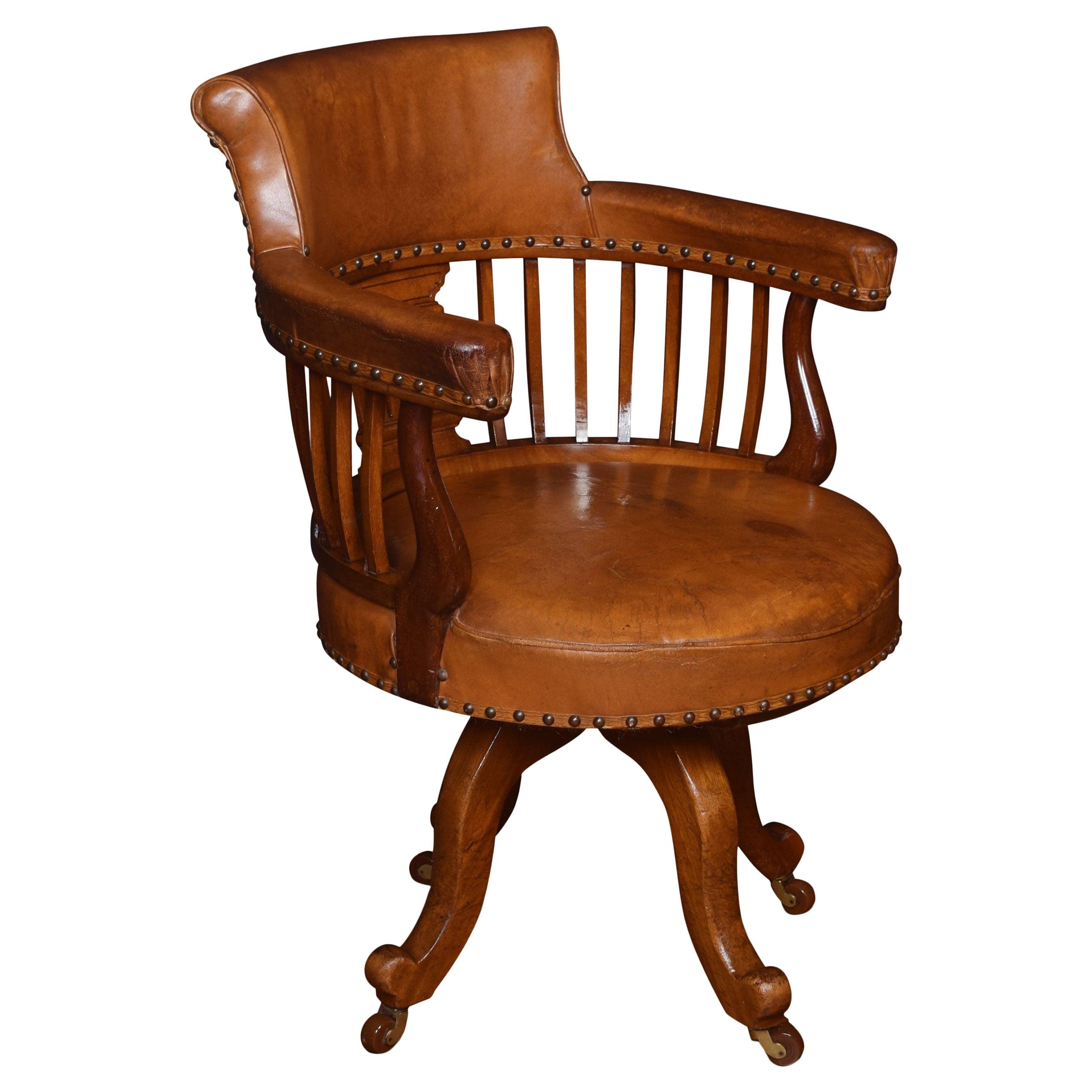 Mahogany Captains Office Desk Chair