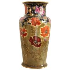 Doulton Burslem Monumental Art Nouveau Polychrome, Cobalt Blue & Sage Vase