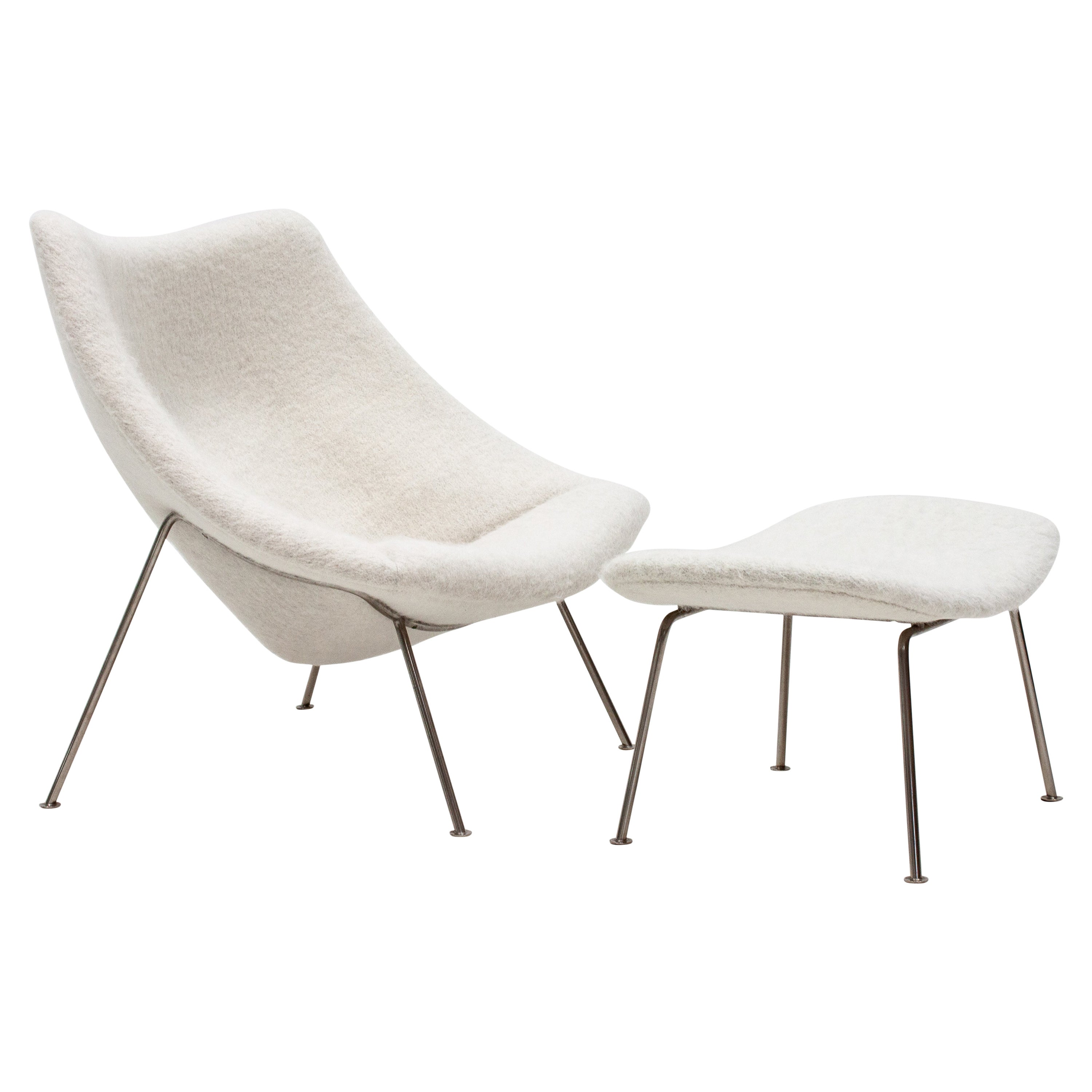"Pierre Paulin Large ""Oyster"" Chair and Footstool for Artifort in Pierre Frey"