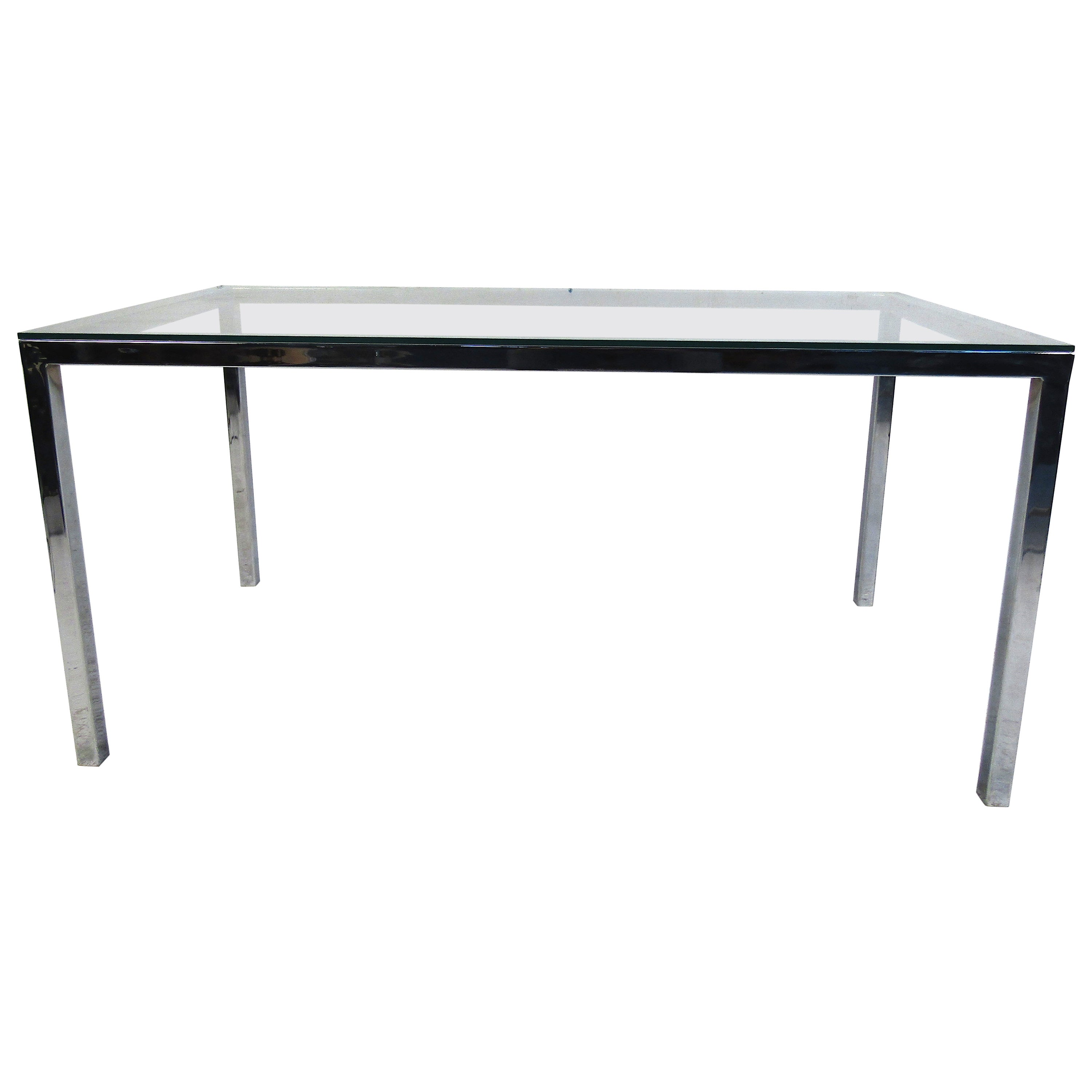 Midcentury Glass and Chrome Dining Table
