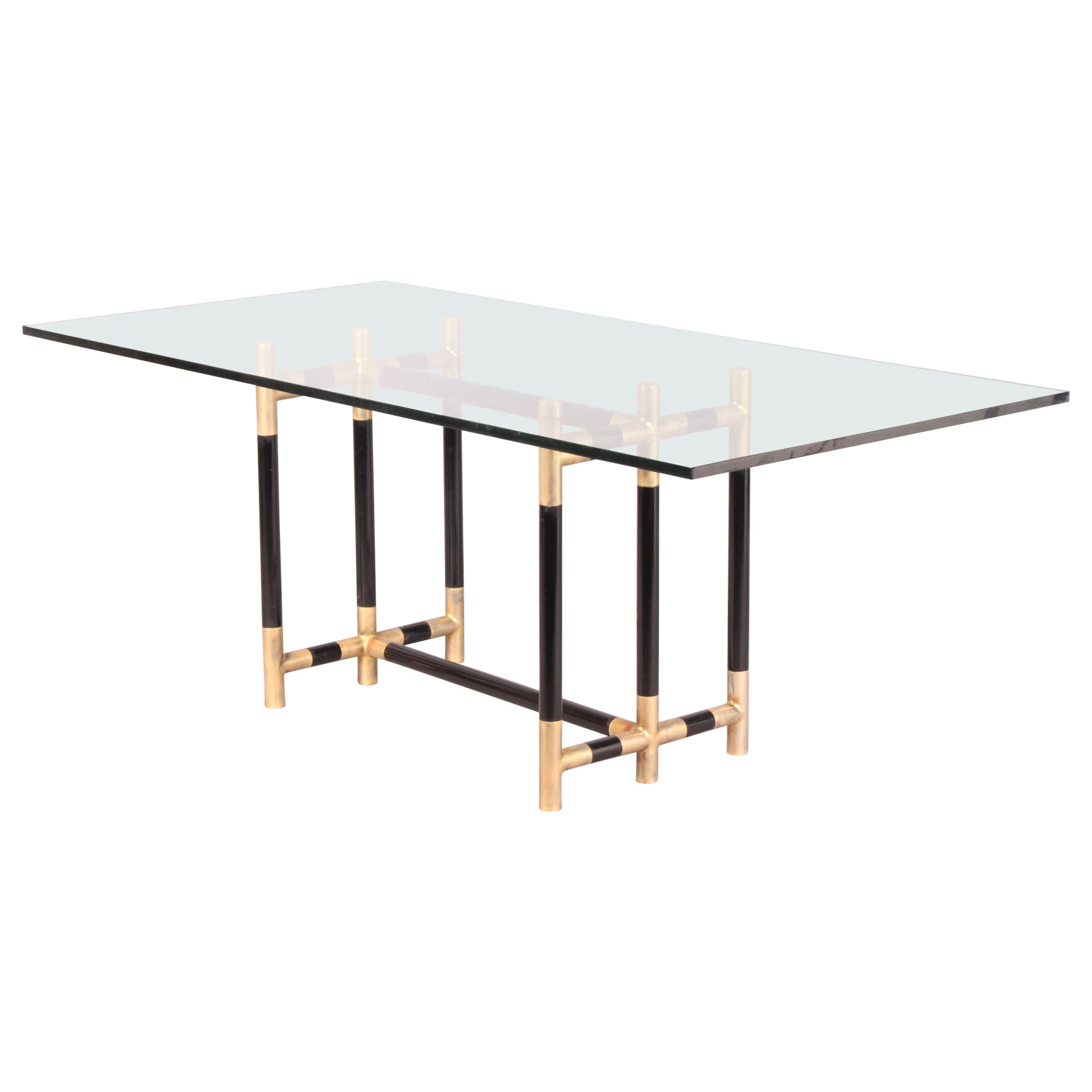 Bicolor Brass and Glass Dinning Table