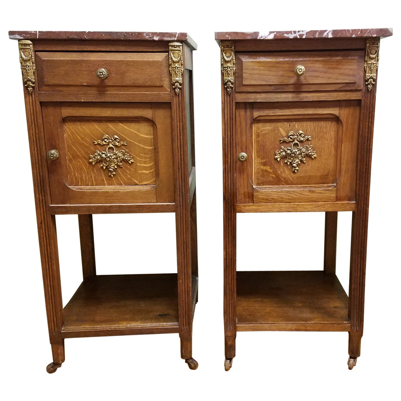 Pair of Vintage Marble-Top End Tables
