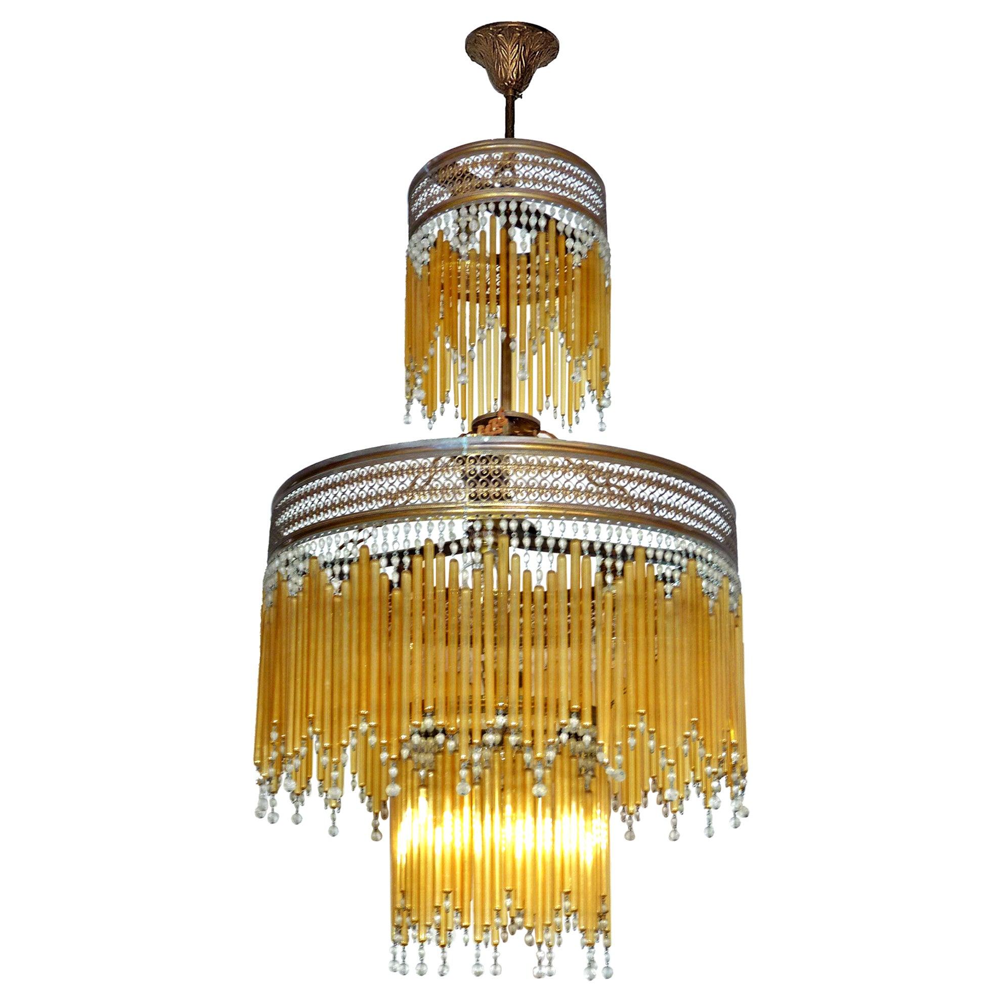 French Art Deco & Art Nouveau Beaded Amber Glass Fringe Gilt 6-Light Chandelier