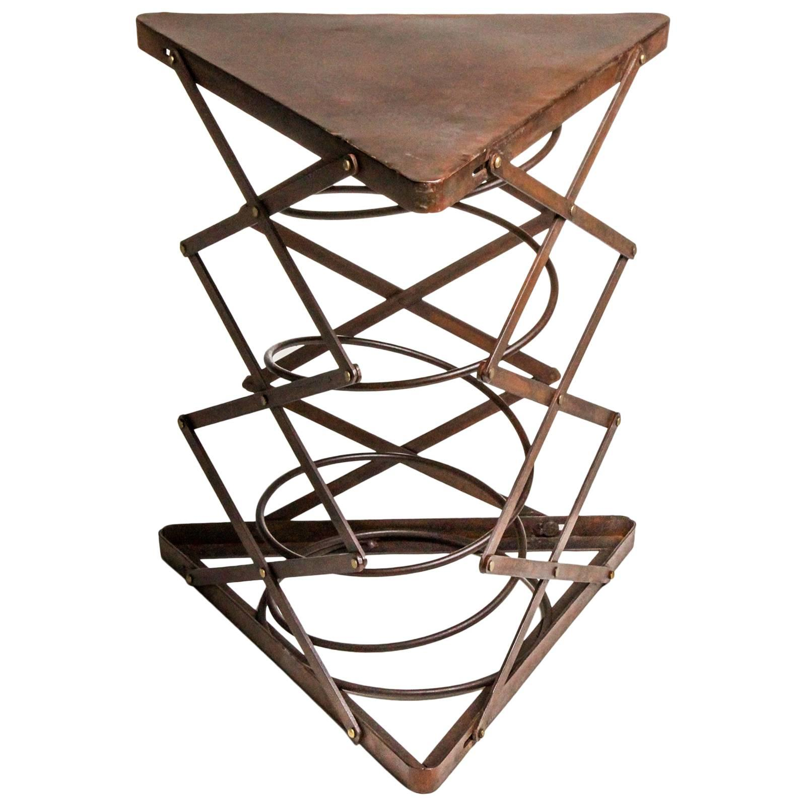 Triangular Metal Side Table