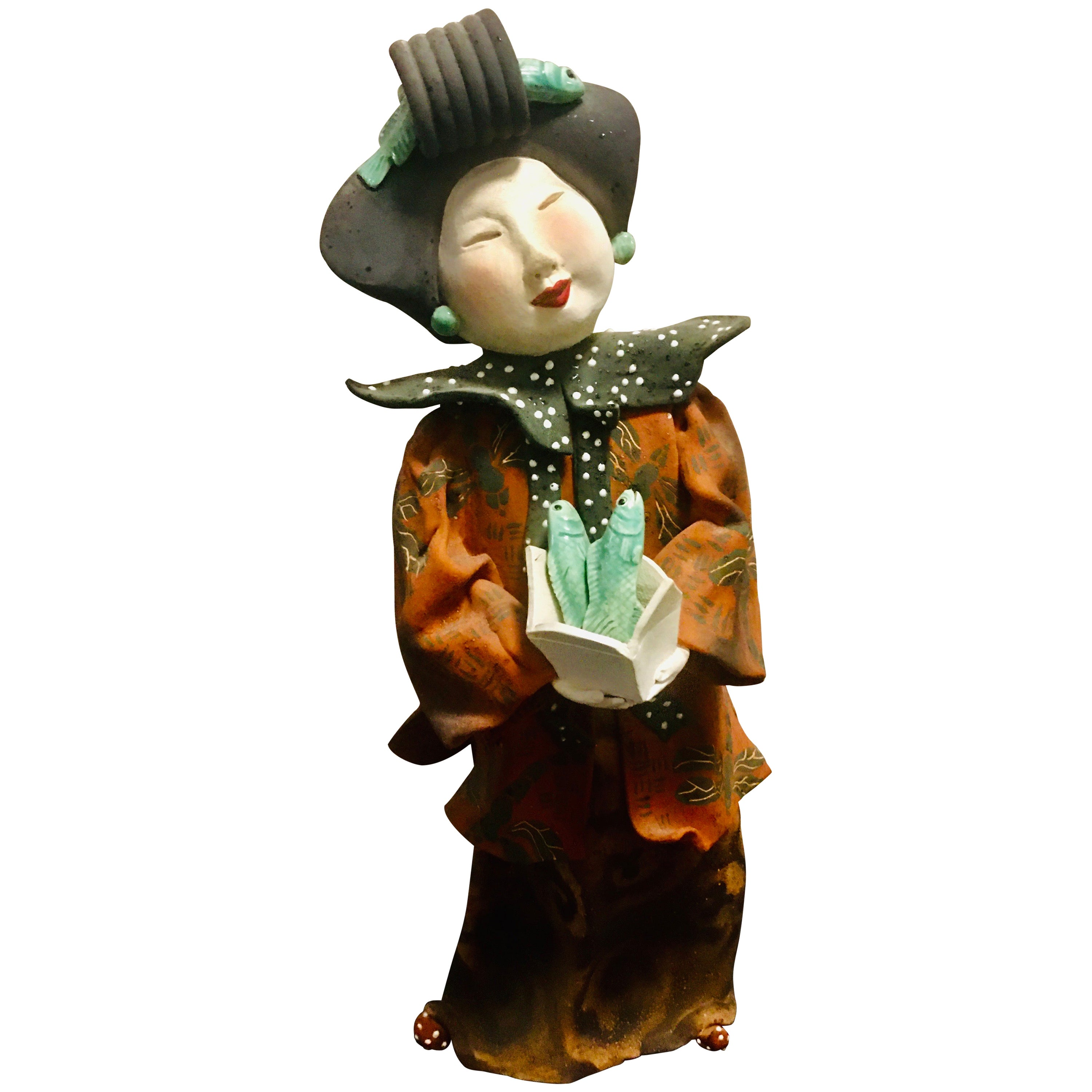 """Vicky Chock """"Chinese Lady Serving Fish"""" Modern Ceramic Sculpture"""