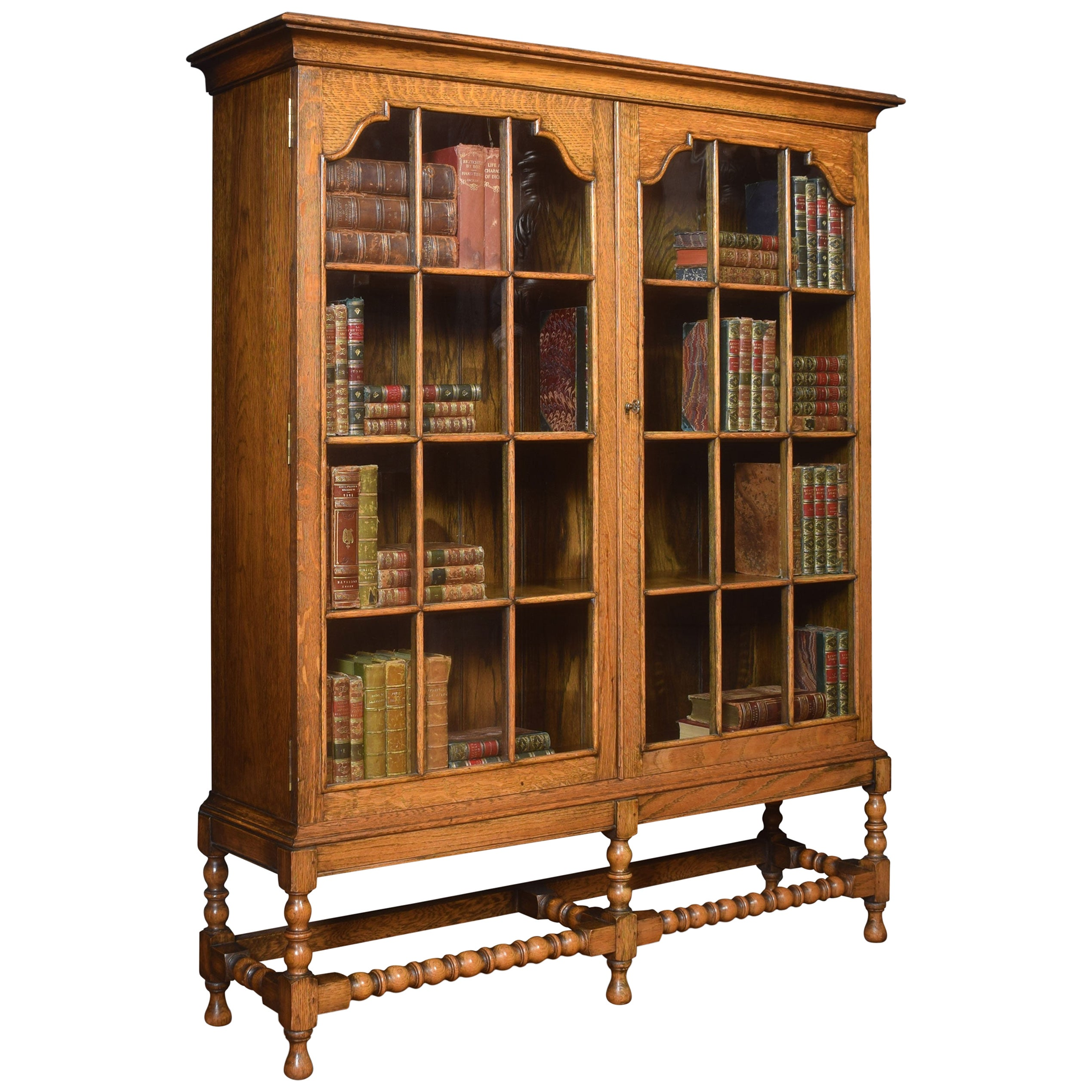 Oak Two-Door Bookcase