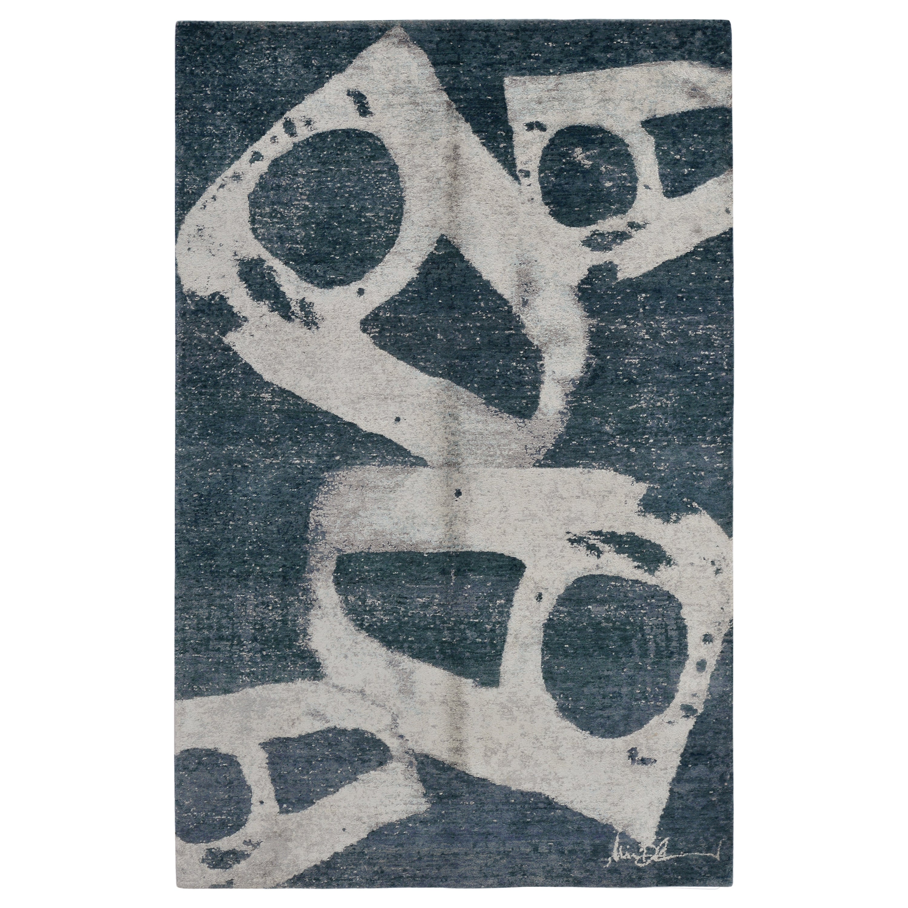 Modern Abstract Rug in Blue and Beige-Gray Geometric Pattern by Rug & Kilim