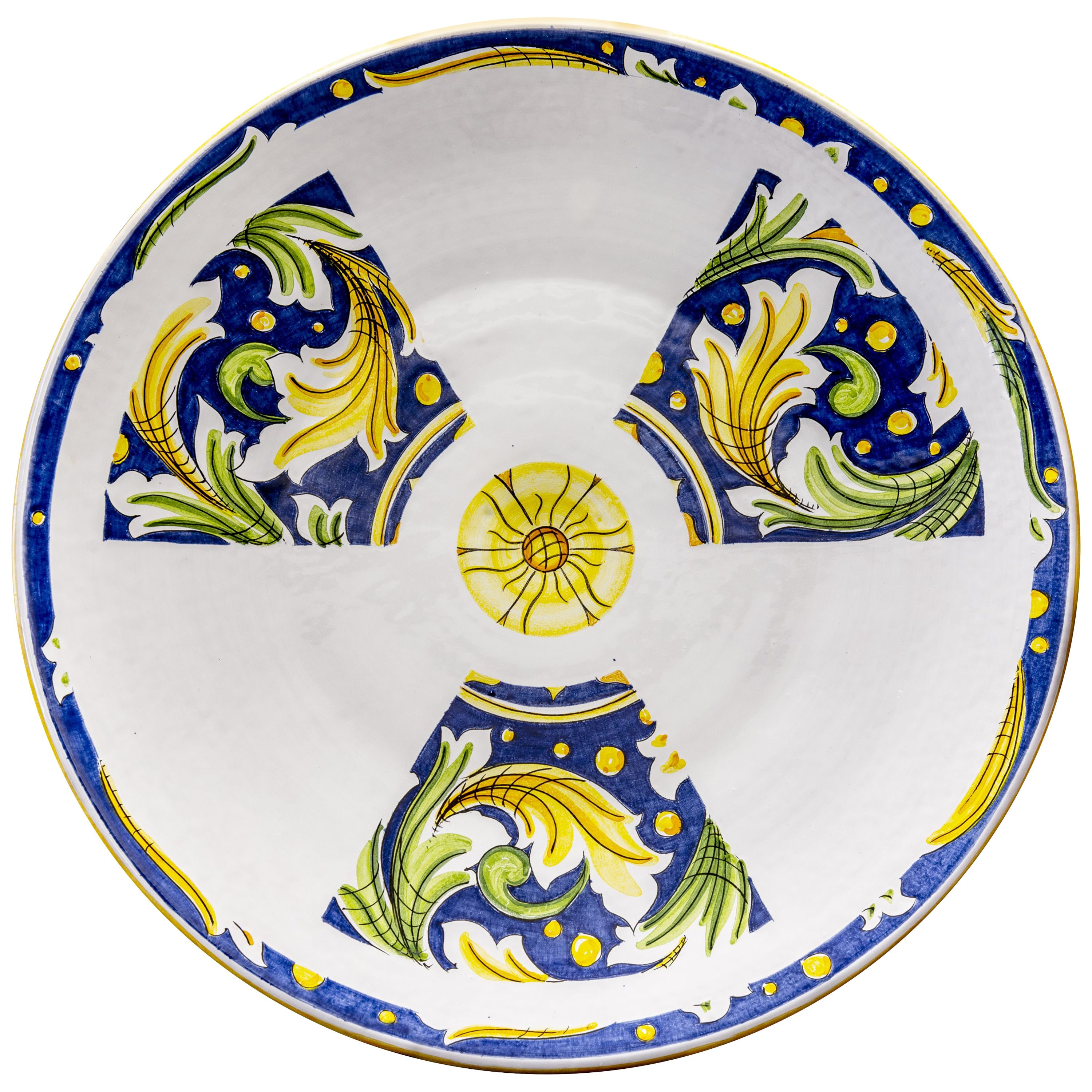 Ceramic Plate Hand Painted Glazed Earthenware Italian Contemporary