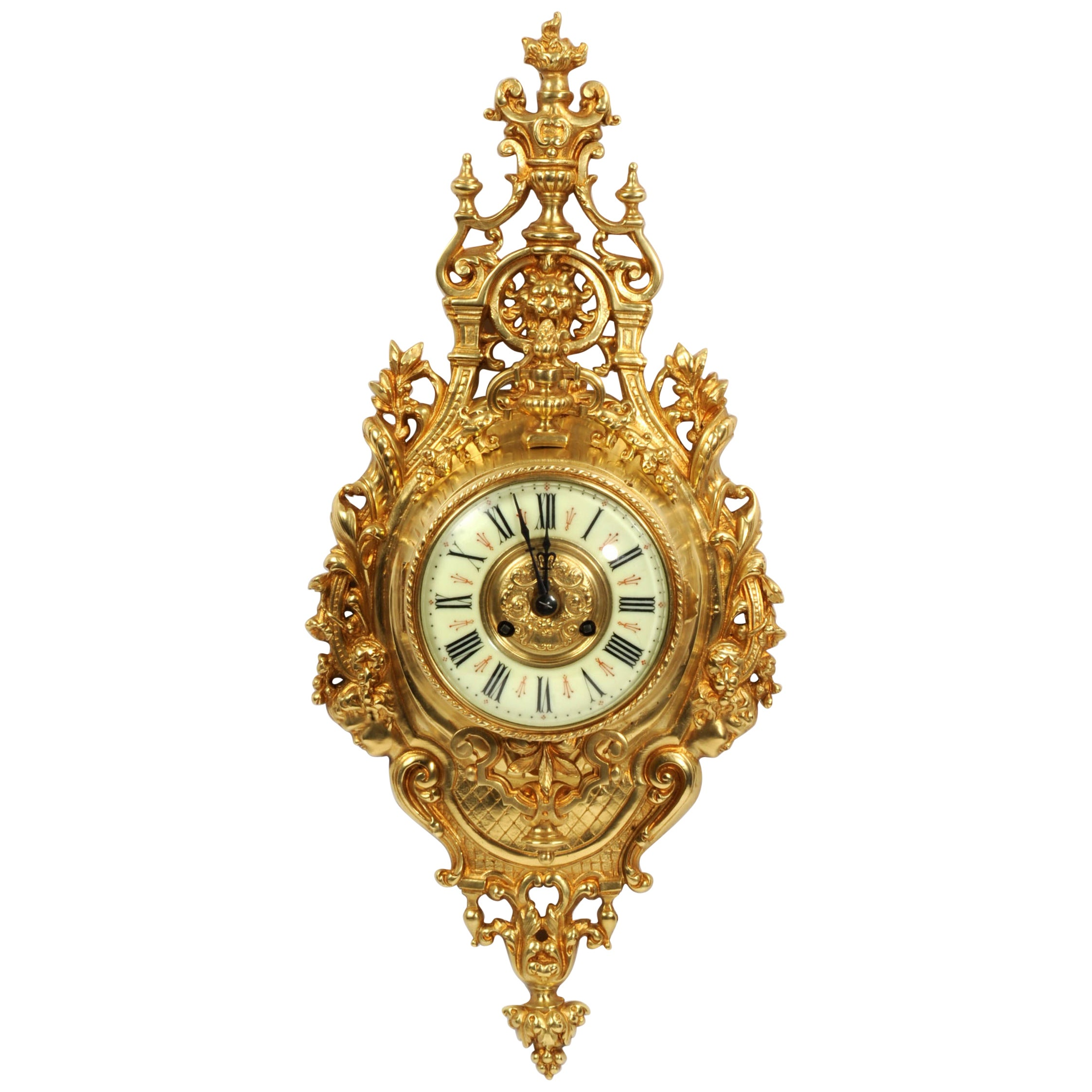 Antique French Gilt Bronze Baroque Cartel Wall Clock by Japy Freres