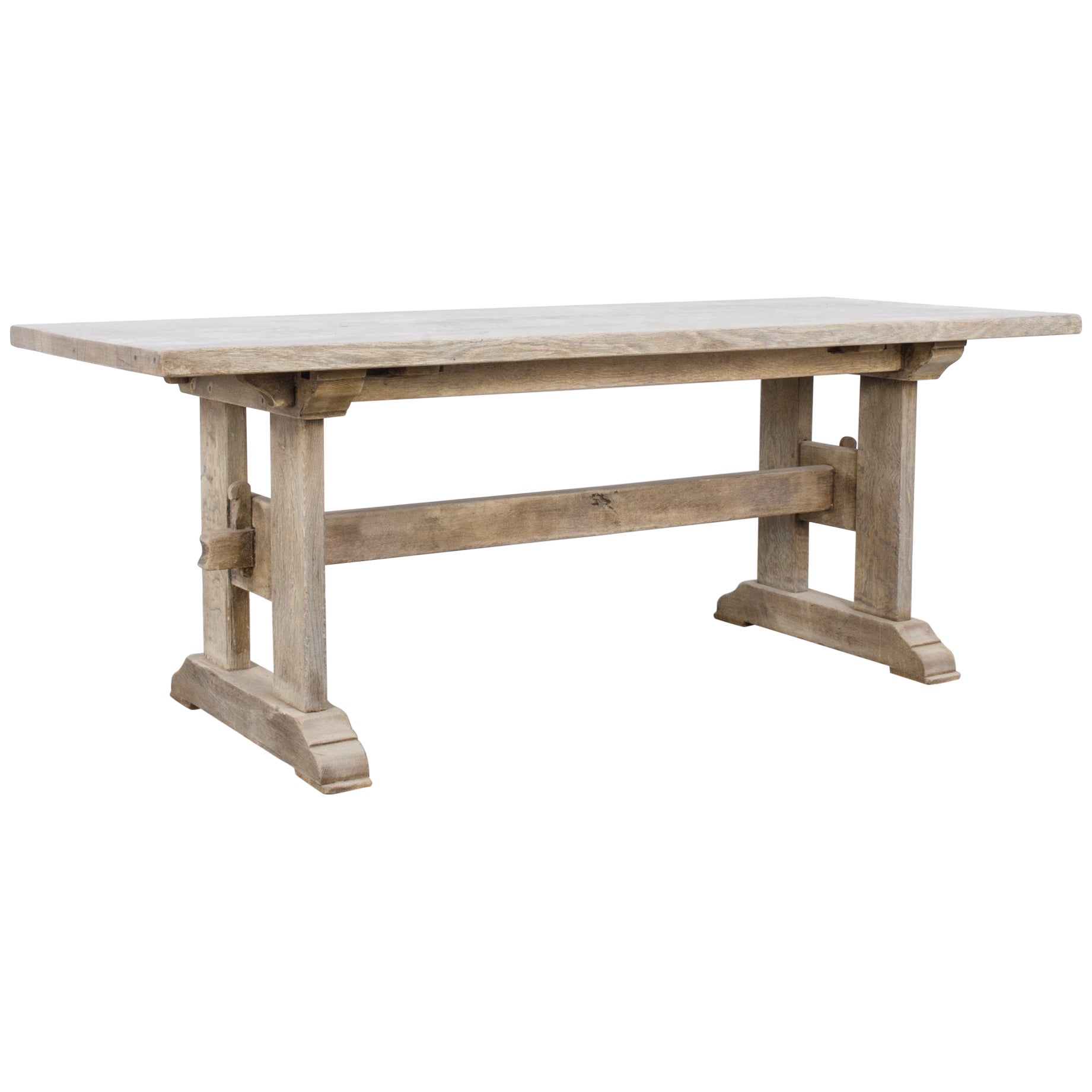 1960s Belgian Bleached Oak Trestle Dining Table