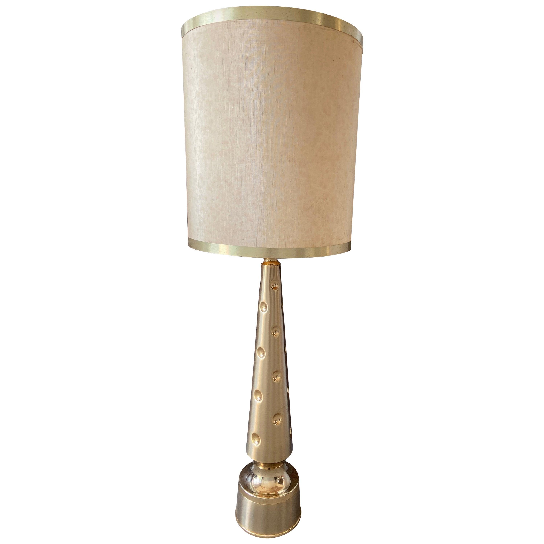 Mid-Century Modern Italian Gilt Metal Table Lamp with Original Lampshade, 1970s